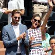 Kevin Trapp et sa compagne Izabel Goulart dans les tribunes lors de la finale homme des Internationaux de Tennis de Roland-Garros à Paris, le 11 juin 2017. © Jacovides-Moreau/Bestimage