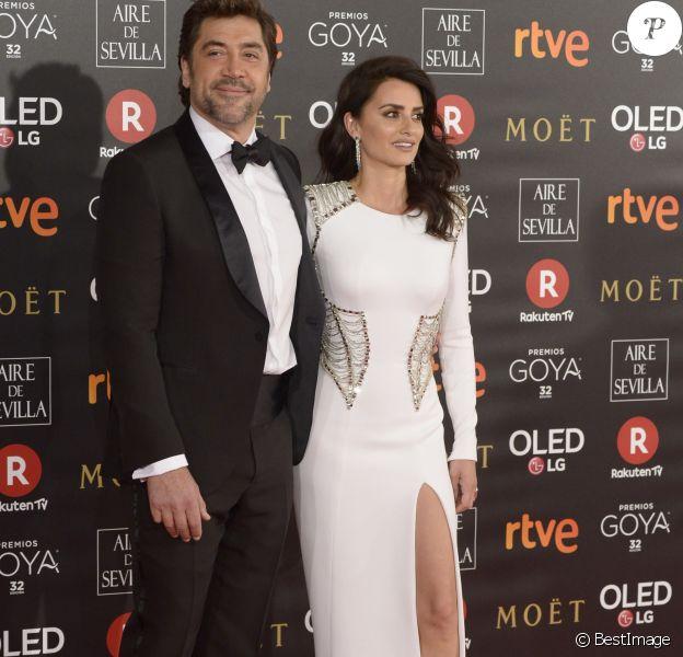 Penélope Cruz et son mari Javier Bardem - Arrivées à la 32 ème cérémonie des Goya Awards 2018 à Madrid le 3 Février 2018
