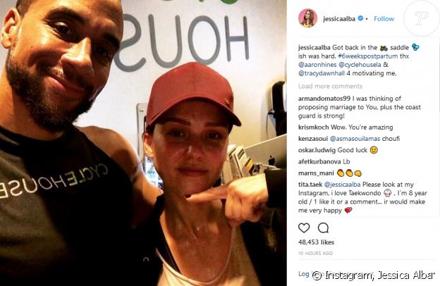 Aaron Hines et Jessica Alba. Février 2018.