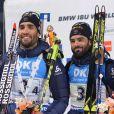 Biathlon : La France remporte le relais messieurs lors de la coupe du monde en Corée avec Simon Desthieux, Martin Fourcade, Simon Fourcade, et Jean Guillaume Beatrix à Pyeongchang le 5 mars 2017.