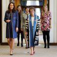 La duchesse de Cambridge, enceinte de près de huit mois, le 27 février 2018 lors de sa visite au Royal College of Obstetricians and Gynaecologists à Londres.