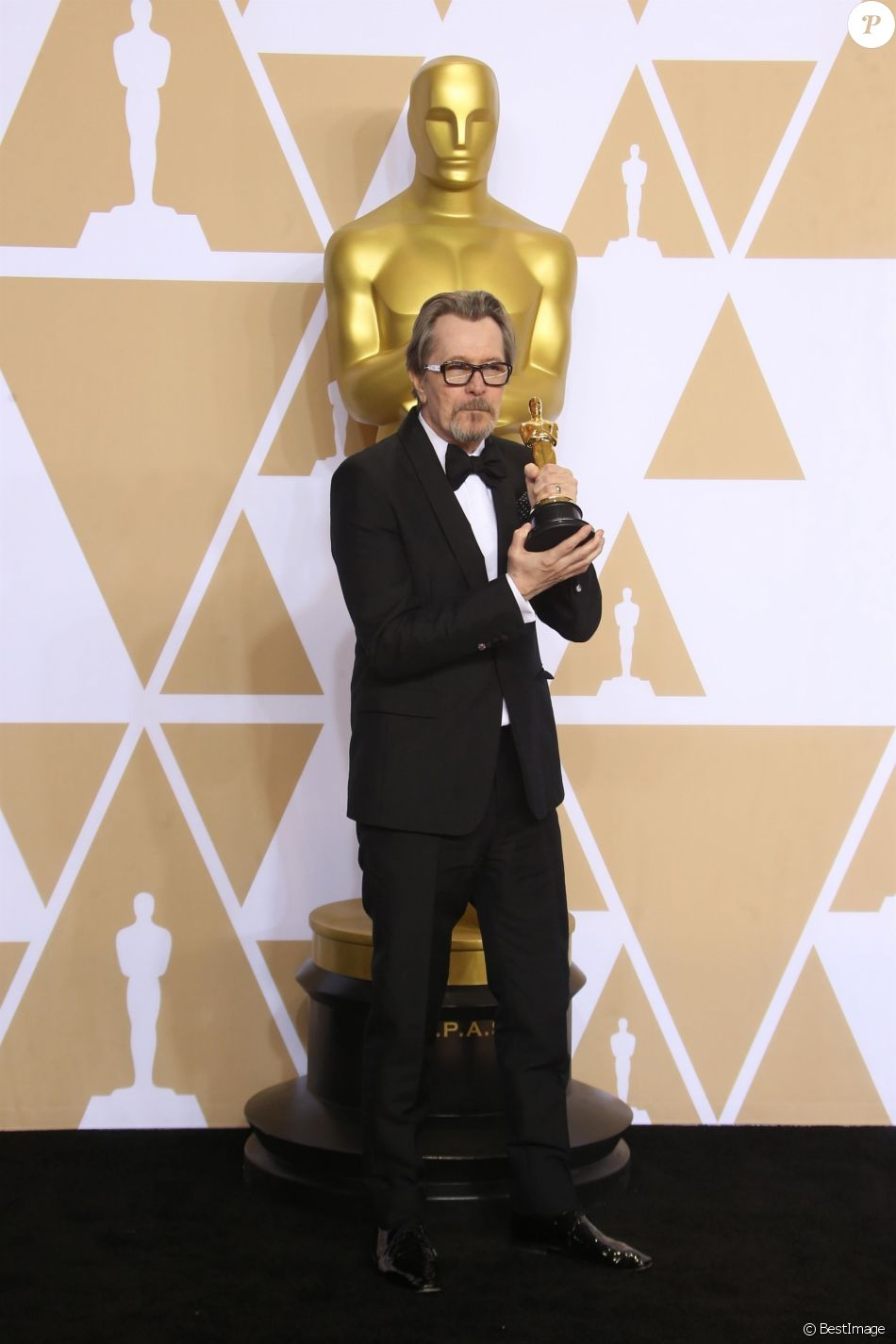Gary Oldman (Oscar du meilleur acteur pour 'Les heures sombres') à la press room de la 90ème cérémonie des Oscars 2018 au théâtre Dolby à Los Angeles, le 4 mars 2018