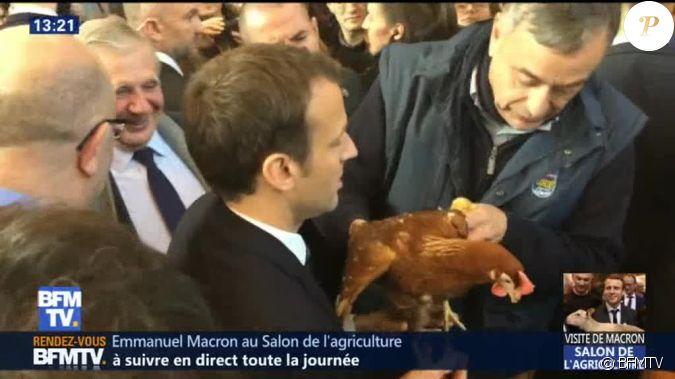 Emmanuel macron en visite au salon de l 39 agriculture for Macron salon agriculture oeuf