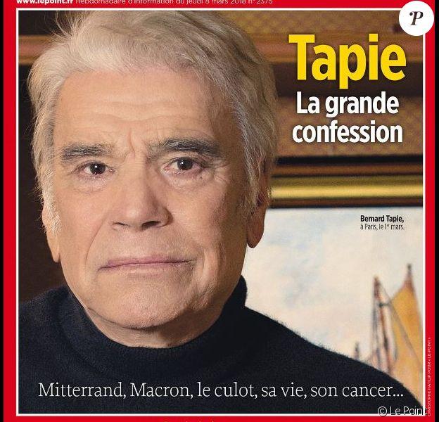 """Bernard Tapie en couverture du magazine """"Le Point"""", numéro du 8 mars 2017."""