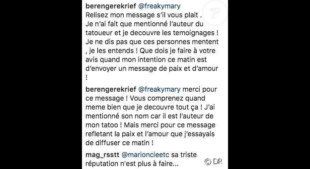Capture du commentaire de Bérengère Krief sur son post Instagram dévoilant son tatouage près de la poitrine - 8 mars 2018