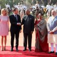 """La première dame Brigitte Macron, Le président Emmanuel Macron, Le président indien Ram Nath Kovind, sa femme Savita, Le premier ministre indien Narendra Modi - Le président et le premier ministre de l'Inde accueillent le président E.Macron et son épouse au palais Rashtrapati Bhavan à New Delhi le 10 mars 2018. © Ludovic Marin / Pool / Bestimage  France's President Emmanuel Macron (2nd L) shakes hands with India's President Ram Nath Kovind (C), as Macron's wife Brigitte (L), Kovind's wife Savita (2nd R) and India's Prime Minister Narendra Modi look on, during a ceremonial reception in New Delhi on March 10, 2018. French President Emmanuel Macron on March 10 said he wanted his country to be India's best partner in Europe as he started a three-day trip to the country aimed at ratcheting up security and energy ties. Macron, who was welcomed by Indian Prime Minister Narendra Modi with his traditional bear hug on his arrival, also said """"collective security"""" will be on top of the agenda during talks later March 10.10/03/2018 - New Delhi"""