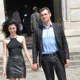 """Exclusif - Jérôme Bertin, de la série """"Plus belle la vie"""", et sa compagne Mariah Tannoury se pacsent au Tribunal d'instance du 15e arrondissement à Paris le 18 juin 2014."""