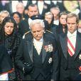 Le prince Albert, le prince Rainier III et la princesse Caroline de Monaco lors des obsèques de la princesse Grace (Grace Kelly) en septembre 1982.