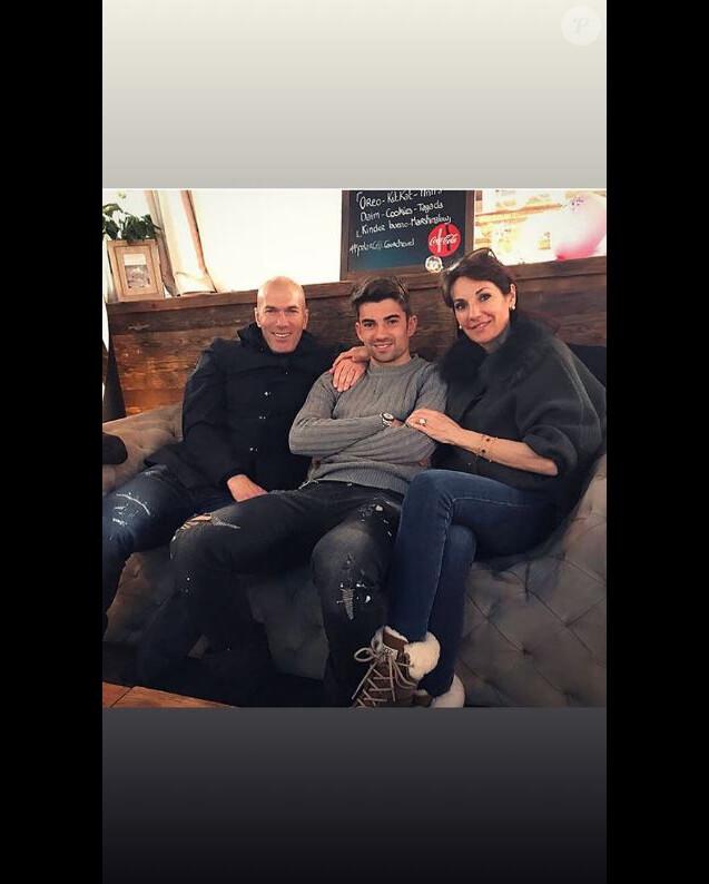 Zinédine Zidane, sa femme Véronique et leur fils Enzo sur Instagram le 26 mars 2018.