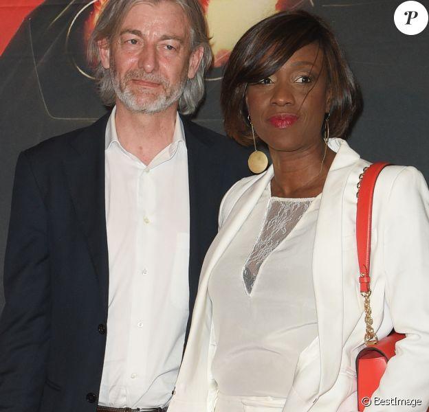 """Gilles Verdez et sa compagne Fatou - Avant-première du film """"Taxi 5"""" au cinéma le Grand Rex à Paris, France, le 8 avril 2018. © Coadic Guirec/Bestimage"""