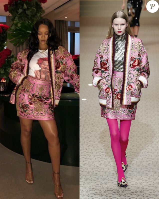 Rihanna craque pour une tenue Dolce & Gabbana collection automne-hiver 2018-2019.