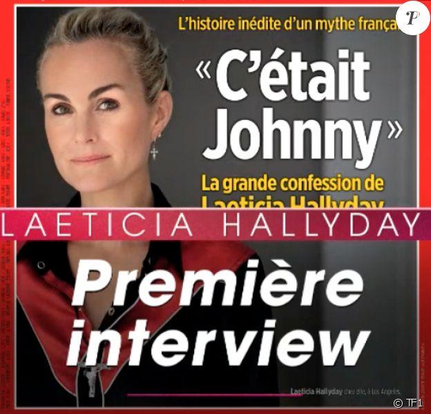 La couverture du Point avec Laeticia Hallyday qui s'exprime pour la première fois depuis la mort de Johnny Hallyday dévoilée lors du JT de TF1, le 11 mars 2018.