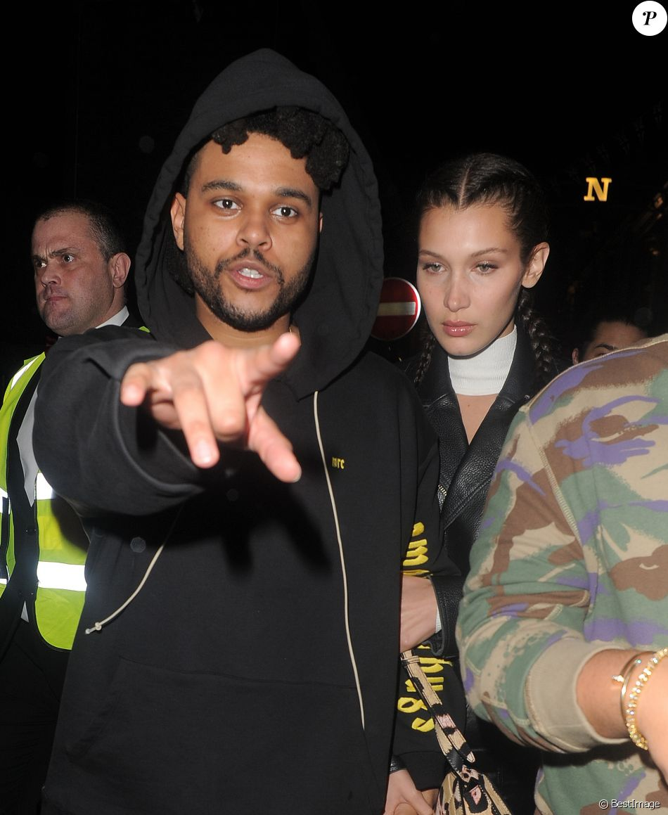 """Bella Hadid et The Weeknd arrivent à la boîte de nuit """"Cirque le Soir"""" à Londres, le 1er juin 2016."""