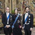 Le prince Daniel avec la princesse Sofia et le prince Carl Philip de Suède le 17 janvier 2018 à Stockholm, au palais royal lors d'un dîner d'Etat.