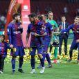Lionel Messi avec son fils Thiago et Philippe Coutinho avec sa fille Maria - Les joueurs du FC Barcelona et leurs familles célèbrent la victoire de la finale de la Coupe du Roi au Wanda Metropolitano de Madrid, Espagne, le 21 avril 2018.
