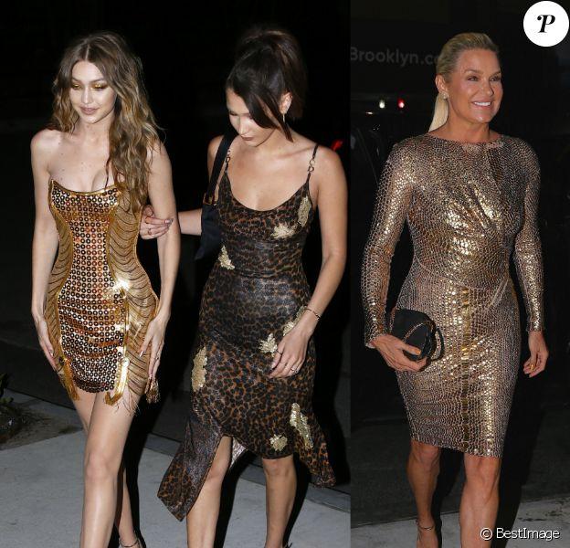 Gigi, Bella et Yolanda Hadid fêtent les 23 ans de Gigi à New York. Le 23 avril 2018.