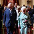 Le prince Charles et la duchesse Camilla avec la reine Elizabeth II à Londres le 19 avril 2018 lors de la rencontre des chefs d'Etats du Commonwealth.