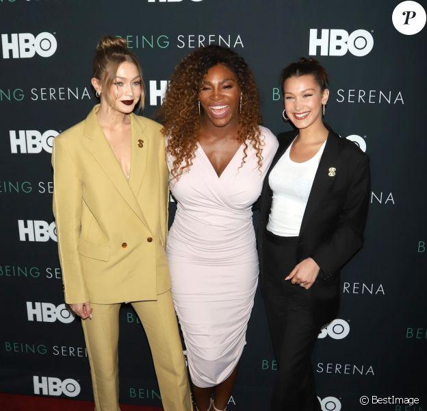 Gigi Hadid et Bella Hadid assistent à l'avant-première du documentaire 'Being Serena' consacré à Serena Williams. New York, le 25 avril 2018.