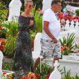 Semi-exclusif - Laeticia Hallyday, Jean-Claude Camus - Laeticia Hallyday s'est recueillie sur la tombe de J. Hallyday avec JC Camus accompagné de sa fille et de son petit-fils au cimetière de Lorient à Saint-Barthélemy le 24 avril 2018.