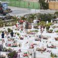 Semi-exclusif - Laeticia Hallyday, Sylviane (la nounou), Jean-Claude Camus avec sa fille Isabelle Camus et son petit-fils Joalukas Noah, Marie Poniatowski et Jean-Pierre Millot (ami très proche du couple Hallyday depuis des années, éditeur à Saint-Barthélemy) - Laeticia Hallyday s'est recueillie sur la tombe de J. Hallyday avec JC Camus accompagné de sa fille et de son petit-fils au cimetière de Lorient à Saint-Barthélemy le 24 avril 2018.