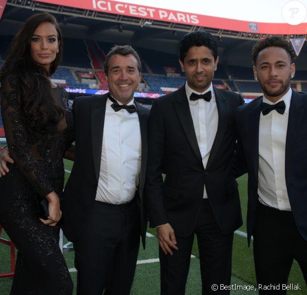 Exclusif - Jade Foret, son mari Arnaud Lagardère, Nasser Al-Khelaifi, le président du Paris Saint-Germain (PSG) et Neymar Jr. - 5ème dîner de gala de la fondation Paris Saint-Germain au parc des Princes à Paris, le 15 mai 2018. © Rachid Bellak/Bestimage