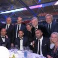 Exclusif - Julien Brun, Darren Tulett, Neymar da Silva Sr. et Neymar Jr. - 5ème dîner de gala de la fondation Paris Saint-Germain au parc des Princes à Paris, le 15 mai 2018. © Rachid Bellak/Bestimage