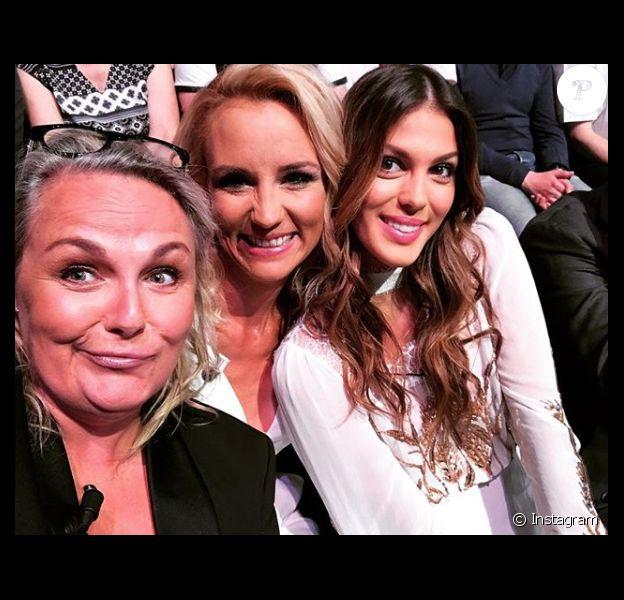 Valérie Damidot, Elodie Gossuin et Iris Mittenaere complices sur un tournage pour TF1, le 17 mai 2018.