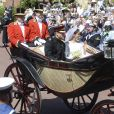 Image de la procession du prince Harry, duc de Sussex, et de Meghan Markle, duchesse de Sussex, lors de leur mariage le 19 mai 2018 à Windsor.