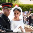Le prince Harry et Meghan Markle, duc et duchesse de Sussex, ont effectué une procession dans le landau Ascot après leur mariage en la chapelle St George à Windsor le 19 mai 2018, à la rencontre du public dans toute la ville de Windsor et le long du Long Walk.