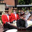 Meghan Markle et le prince Harry, duc et duchesse de Sussex, ont effectué une procession dans le landau Ascot après leur mariage en la chapelle St George à Windsor le 19 mai 2018, à la rencontre du public dans toute la ville de Windsor et le long du Long Walk.