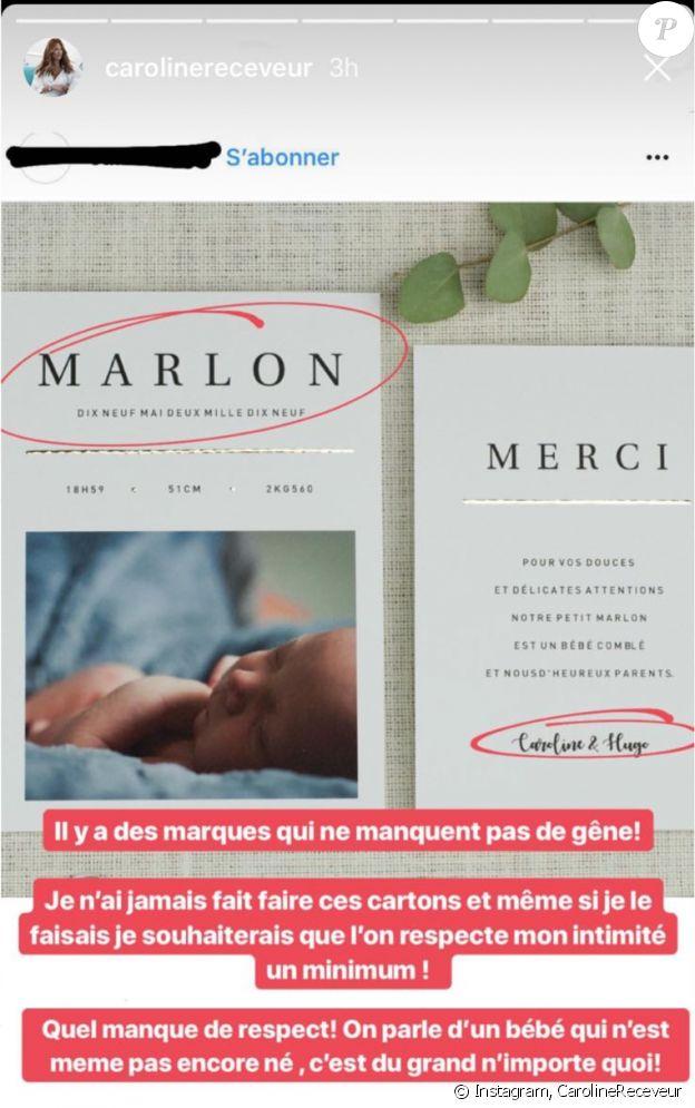 Caroline Receveur pousse un coup de gueule contre une marque qui utilise l'identité de son futur bébé, Marlon. Mai 2018