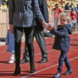 Le prince Albert II de Monaco, la princesse Charlene de Monaco et leurs enfants le prince Jacques et la princesse Gabriella de Monaco - 8ème édition du tournoi de rugby Sainte-Dévote au Stade Louis II à Monaco, le 31 mars 2018. © Olivier Huitel/Pool Monaco/Bestimage