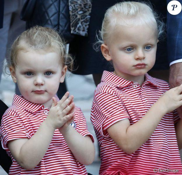 De gauche à droite, la princesse Charlene de Monaco, la princesse Gabriella et le prince Jacques durant le traditionnel pique-nique des monégasques au parc Princesse Antoinette à Monaco le 1er septembre 2017. © Olivier Huitel/Pool restreint Monaco/Bestimage