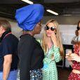 Khadja Nin, Vivian Sibold et la princesse Alexandra de Hanovre dans les paddocks du circuit du Grand Prix de Monaco le 24 mai 2018. © Bruno Bebert / Bestimage