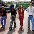 La princesse Alexandra de Hanovre et son compagnon Ben-Sylvester Strautmann avec Jacky Ickx et sa femme Khadja Nin dans les paddocks du circuit du Grand Prix de Monaco le 24 mai 2018. © Bruno Bebert / Bestimage