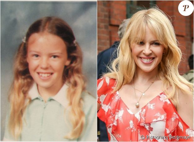 Kylie Minogue, enfant en 1980 et le 24 avril 2018 à New York.