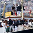 Charlotte Casiraghi et son fils Raphael, le prince Albert II de Monaco, la princesse Caroline de Hanovre et des invités et membres du Yacht Club - Départ du 1er Monaco Globe Series à Monaco le 3 juin 2018. © Bruno Bebert/Bestimage