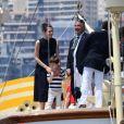 Charlotte Casiraghi et son fils Raphaël - Départ du 1er Monaco Globe Series à Monaco le 3 juin 2018. © Bruno Bebert/Bestimage