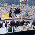 Charlotte Casiraghi et son fils Raphaël, le prince Albert II de Monaco, Beatrice Borromeo, et des invités et membres du Yacht Club - Départ du 1er Monaco Globe Series à Monaco le 3 juin 2018. © Bruno Bebert/Bestimage