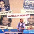 """Cyril Hanouna et son équipe critiquent le projet de Bertrand Chameroy dans """"Touche pas à mon poste"""" (C8), le 5 juin 2018."""