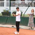 Exclusif - Caroline Receveur (enceinte) et son fiancé Hugo Philip - 26ème édition du Trophée des personnalités en marge des Internationaux de Tennis de Roland Garros à Paris. Le 5 juin 2018. © Denis Guignebourg / Bestimage