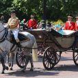 """La reine Elisabeth II - Rassemblement militaire """"Trooping the Colour"""" (le """"salut aux couleurs""""), célébrant l'anniversaire officiel du souverain britannique. Cette parade a lieu à Horse Guards Parade, chaque année au cours du deuxième samedi du mois de juin. Londres, le 9 juin 2018."""