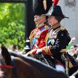 """La princesse Anne - Les membres de la famille royale britannique lors du rassemblement militaire """"Trooping the Colour"""" (le """"salut aux couleurs""""), célébrant l'anniversaire officiel du souverain britannique. Cette parade a lieu à Horse Guards Parade, chaque année au cours du deuxième samedi du mois de juin. Londres, le 9 juin 2018."""