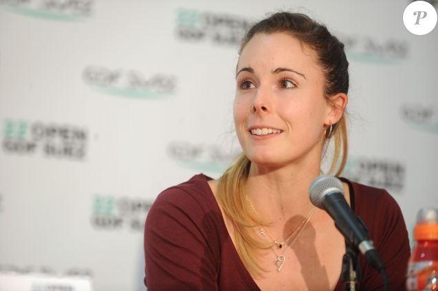 Alize Cornet durant le tirage au sort du 22 eme Open de tennis GDF Suez au Stade Coubertin a Paris le 25 janvier 2014.