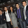"""J.J. Abrams, Eric Bana, Zoe Saldana, Zachary Quinto et Chris Pine, lors de la promotion de """"Star Trek"""", de J.J. Abrams, le 14 avril 2009, au Park Hyatt, à Paris !"""