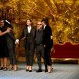 Stefano Gabbana, Naomi Campbell, Monica Bellucci, Domenico Dolce et Marpessa Hennink lors du défilé Dolce&Gabbana pendant la Fashion Week Printemps / Été 2019 homme de Milan, Italie, le 16, 2018.