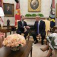 Donald Trump et Melania reçoivent le roi Felipe VI et la reine Letizia d'Espagne à la Maison Blanche à Washington DC, le 19 juin 2018.