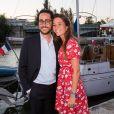 Thomas Hollande et sa future femme la journaliste Emilie Broussouloux lors du 6e Trophée de la Pétanque Gastronomique au Paris Yacht Marina, 28 juin 2018.