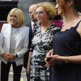 """Mounir Mahjoubi, secrétaire d'Etat, chargé du Numérique, la Première Dame Brigitte Macron (Trogneux), Muriel Pénicaud, ministre du Travail, Marlène Schippa et Jean-Michel Blanquer, ministre de l'Education Nationale - La Première Dame française assiste au lancement de la fondation Femmes@Numérique pour rééquilibrer la répartition hommes-femmes dans les entreprises des nouvelles technologies à la cité des sciences et de l'industrie à Paris, France, le 27 juin 2018. La Première Dame est venue à la réception et a rencontré plusieurs associations dont elle a salué les """"belles initiatives"""". © Giancarlo Gorassini/Bestimage"""