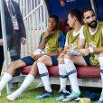 Kylian Mbappé, Florian Thauvin et Adil Rami - Match de coupe du monde opposant la France au Danemark au stade Loujniki à Moscou, Russie, le 26 juin 2018. Le match s'est terminé par un match nul 0-0. © Pierre Perusseau/Bestimage